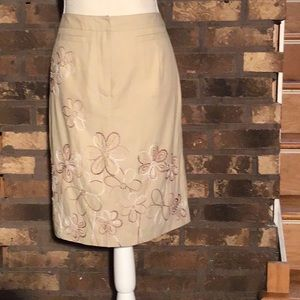 Talbots midi flower embroidered skirt tan 4